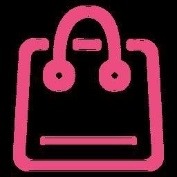 Ícone da sacola de compras com traço rosa
