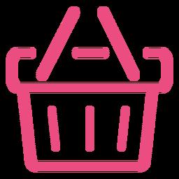 Icono de cesta de compras trazo rosa
