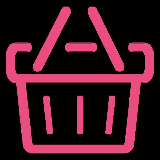 Cesta de compras icono trazo rosa