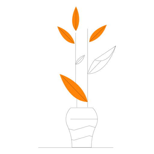 Línea simple de plantas de interior