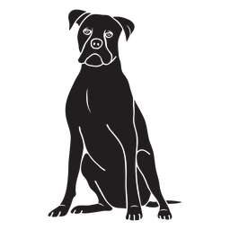Sentado boxer perro negro