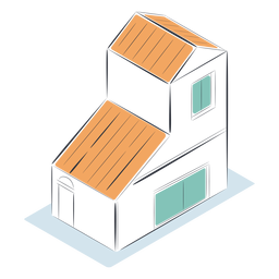 Two story house isometric