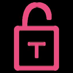Unlock padlock icon stroke pink