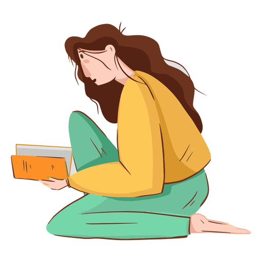 Woman reading character Transparent PNG
