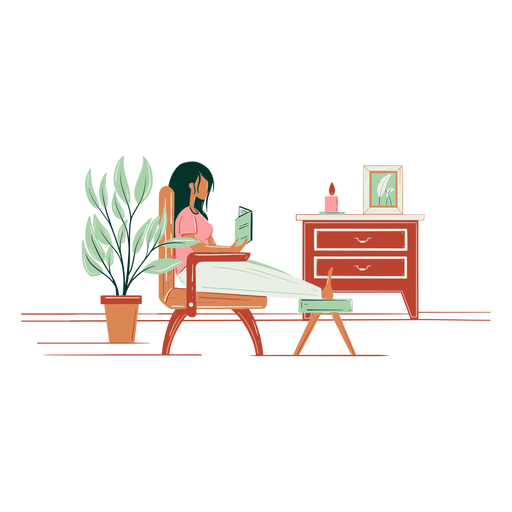 Woman relaxing hand drawn