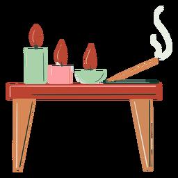 Mesa de madera velas dibujadas a mano
