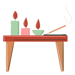 Velas de mesa de madera dibujadas a mano