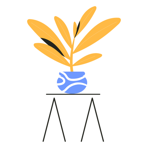 Yellow houseplant table flat Transparent PNG