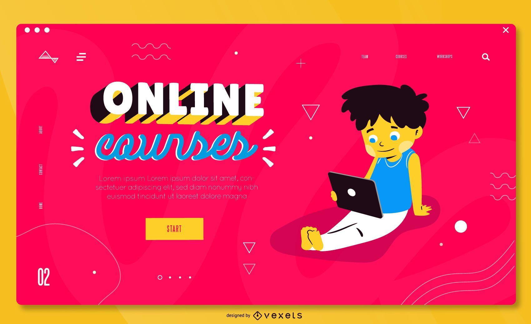 Plantilla de página de destino de educación colorida