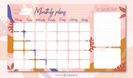 Floral monthly planner design