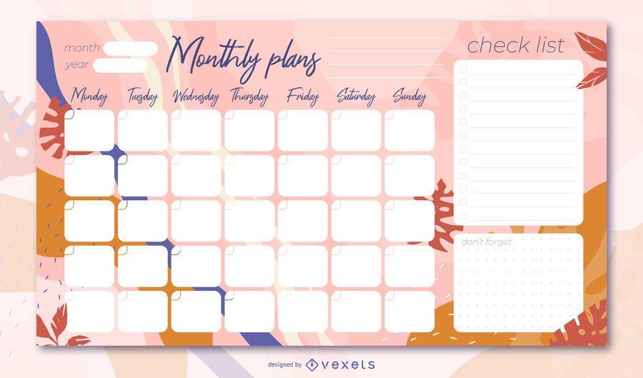 Diseño floral planificador mensual