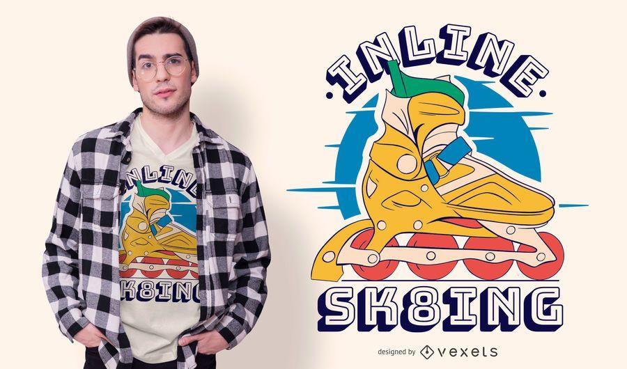 Diseño de camiseta de ilustración de patinaje en línea
