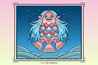 Ilustração da criatura Amabie