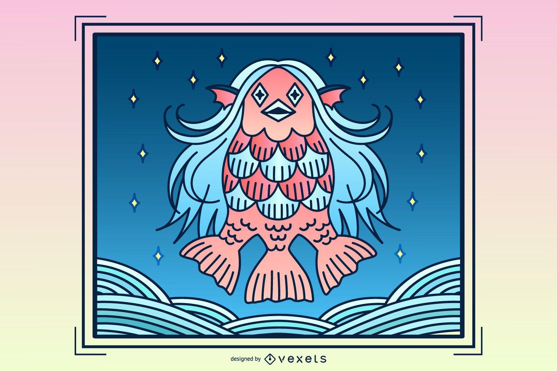 Ilustración de criatura amabie