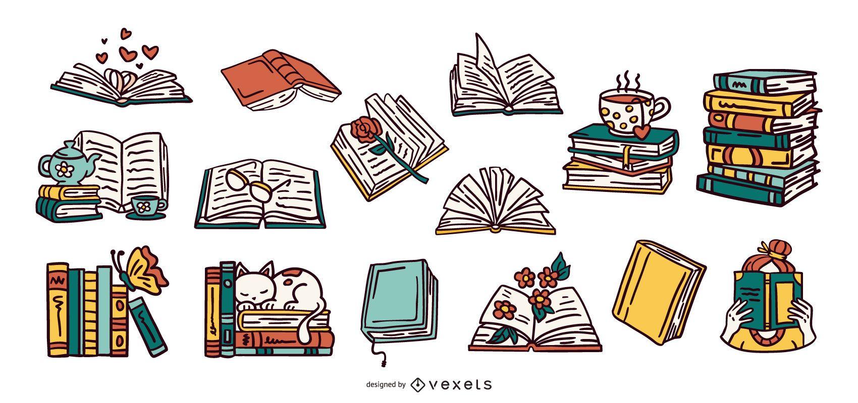 Hand drawn books illustration collection