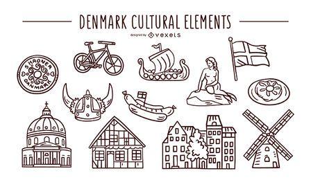 Conjunto de trazos de elementos culturales de Dinamarca