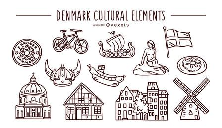 Denmark cultural elements stroke set