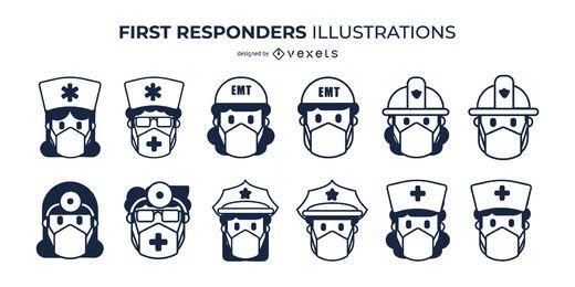 Conjunto de máscaras faciales de primeros auxilios