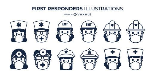 First responders face masks set