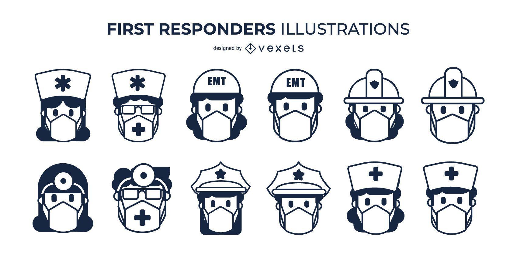 Conjunto de mascarillas faciales para primeros respondedores