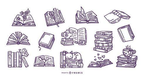 Colección de trazos de libros dibujados a mano