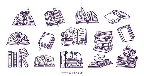 Hand drawn books stroke collection