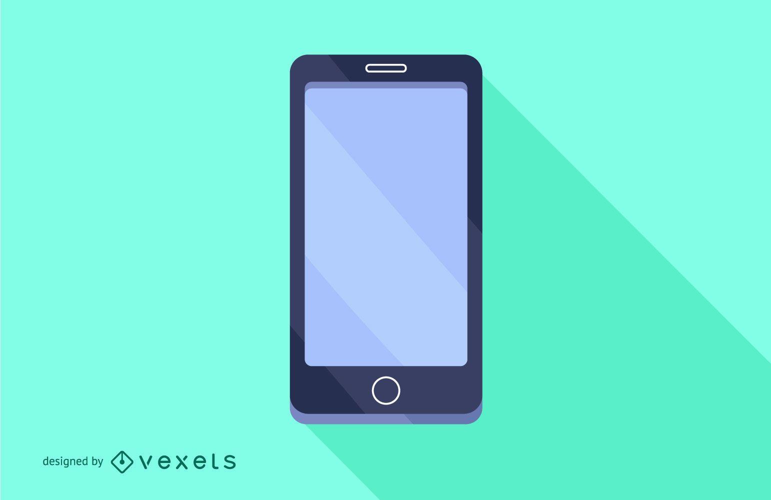 Flat Long Shadow Smartphone Design
