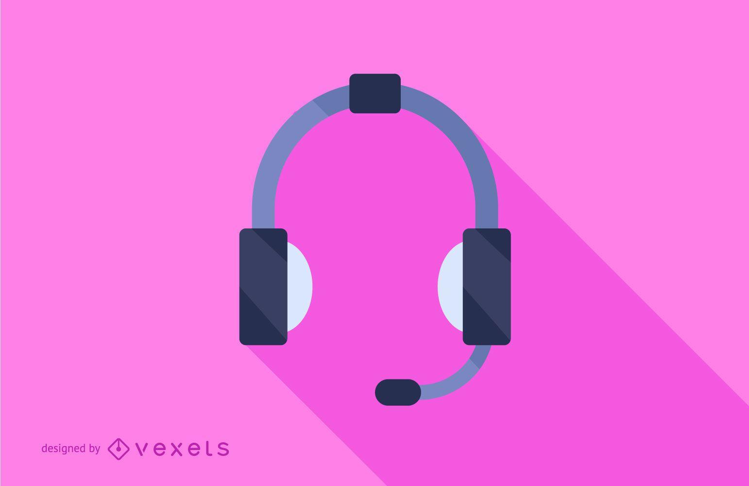 Headphones Flat Long Shadow Illustration