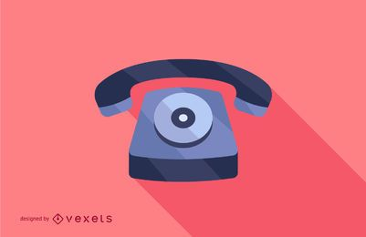 Rotary Dial Flat Long Shadow Illustration