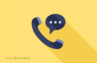 Llamada telefónica plana larga sombra ilustración