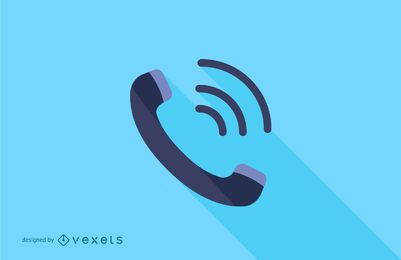 Ringing Phone Flat Long Shadow Illustration