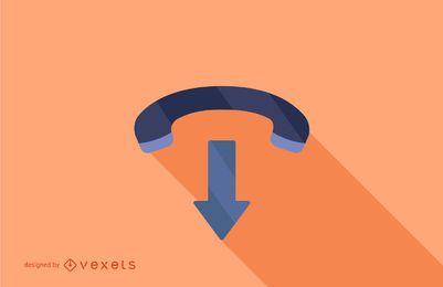 Diseño de larga sombra de icono de teléfono
