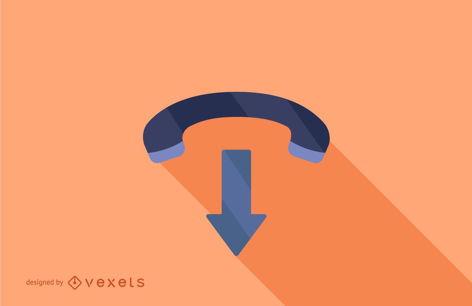 Design de sombra longa do ícone do telefone