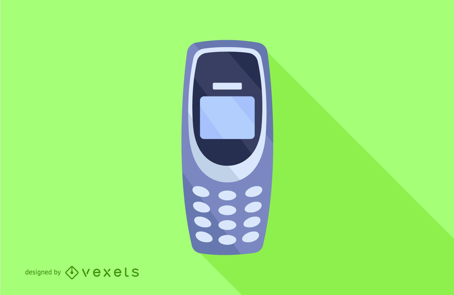 Button Mobile Phone Flat Long Shadow Design