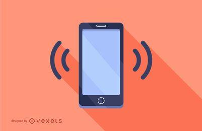 Diseño de teléfono inteligente con sombra larga plana