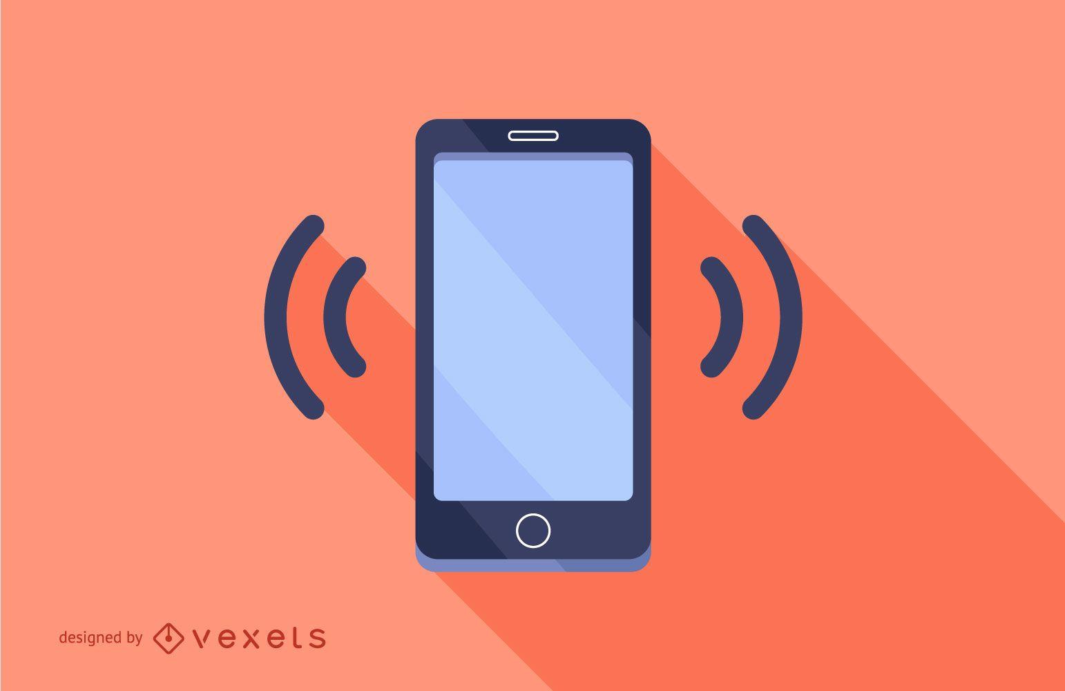 Smartphone con diseño de sombra plana larga