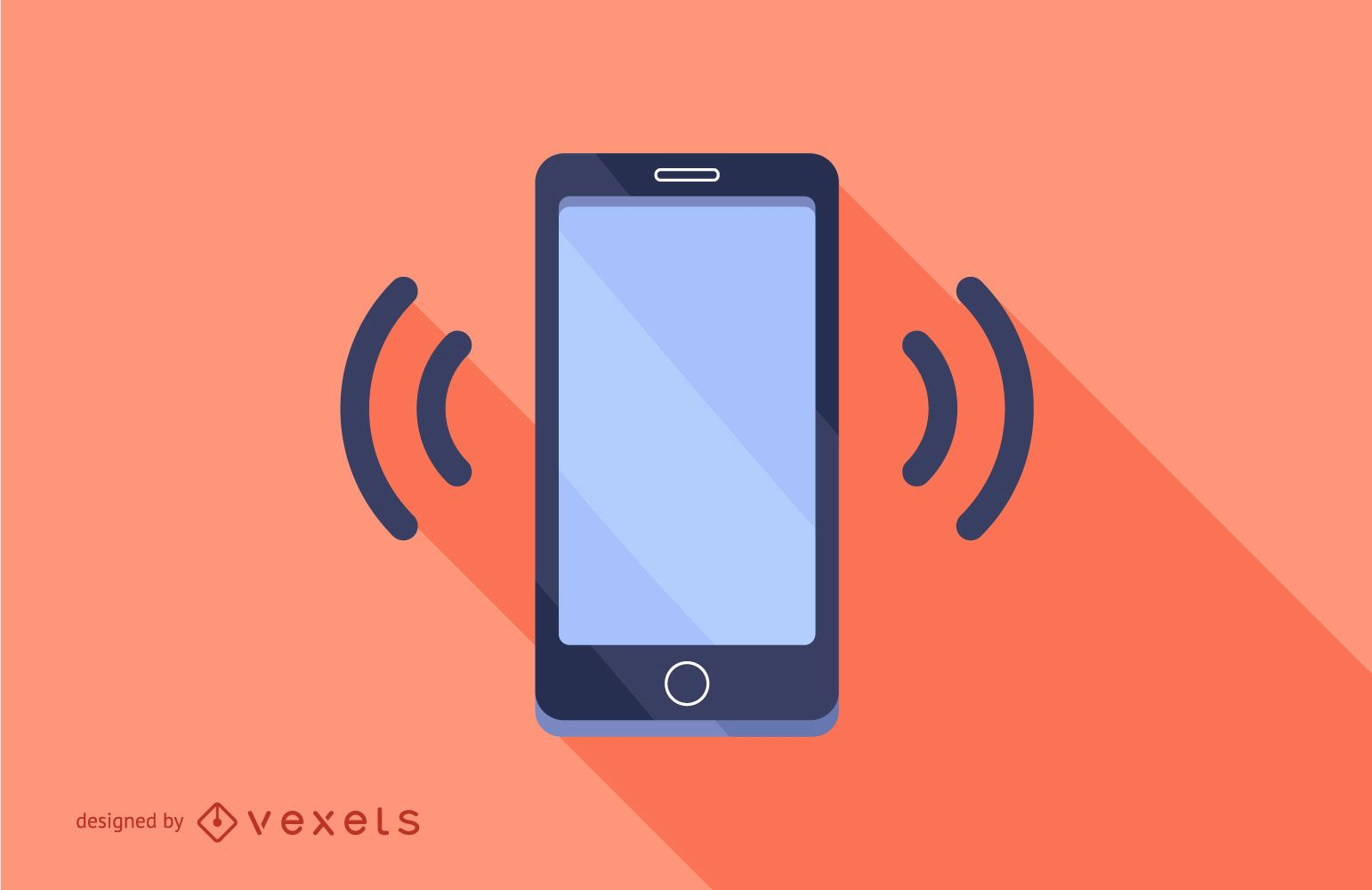 Smartphone Ringing Flat Long Shadow Design