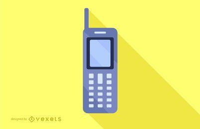 Design de longa sombra para telefone celular plano
