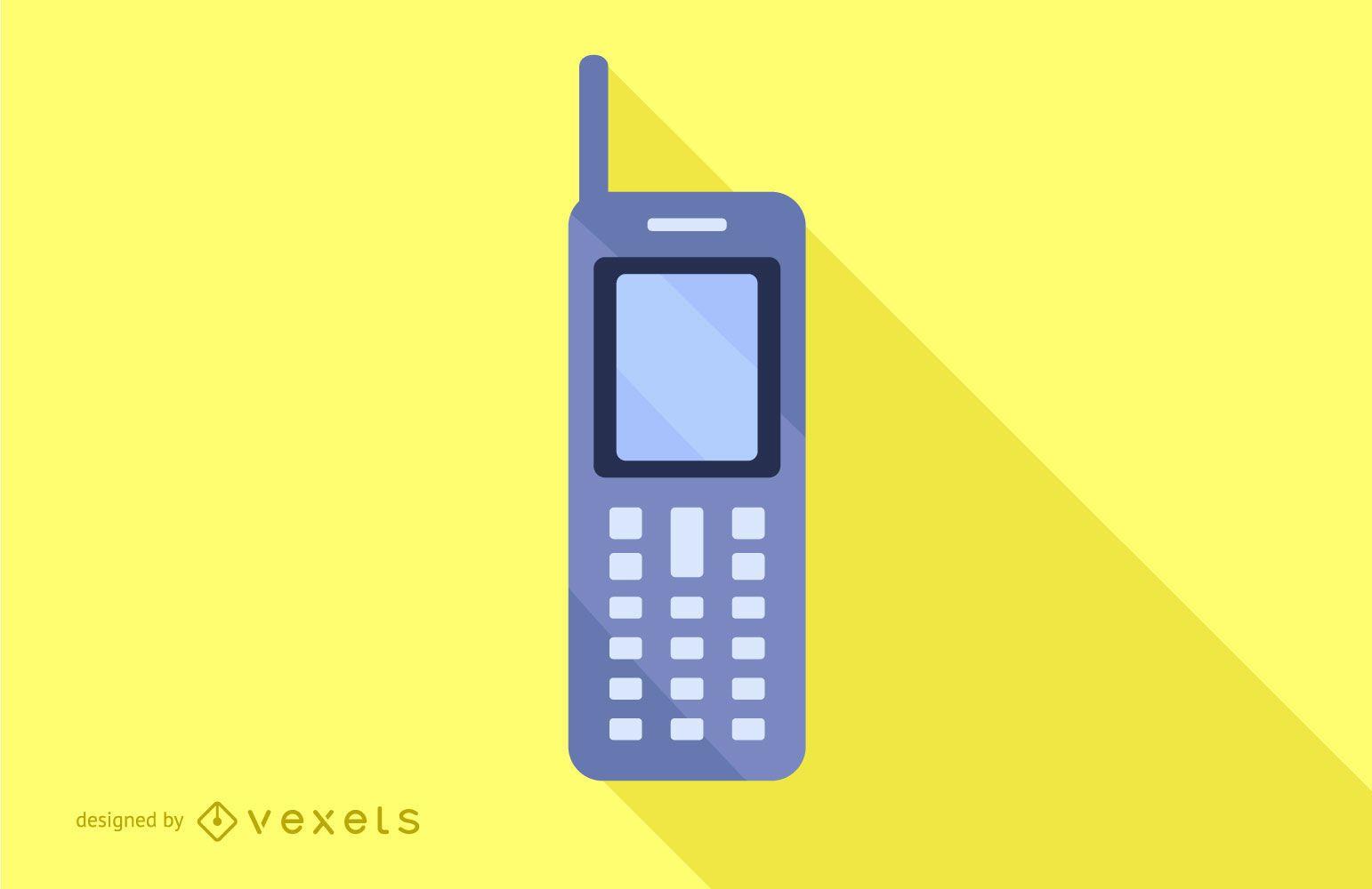 Diseño plano de la sombra larga del teléfono móvil