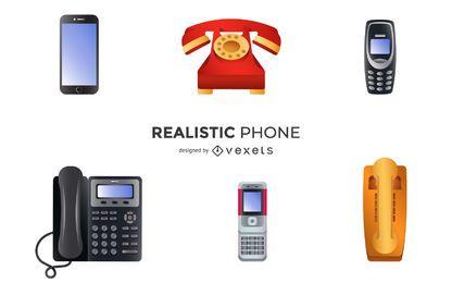 Conjunto de ilustração de telefones realista