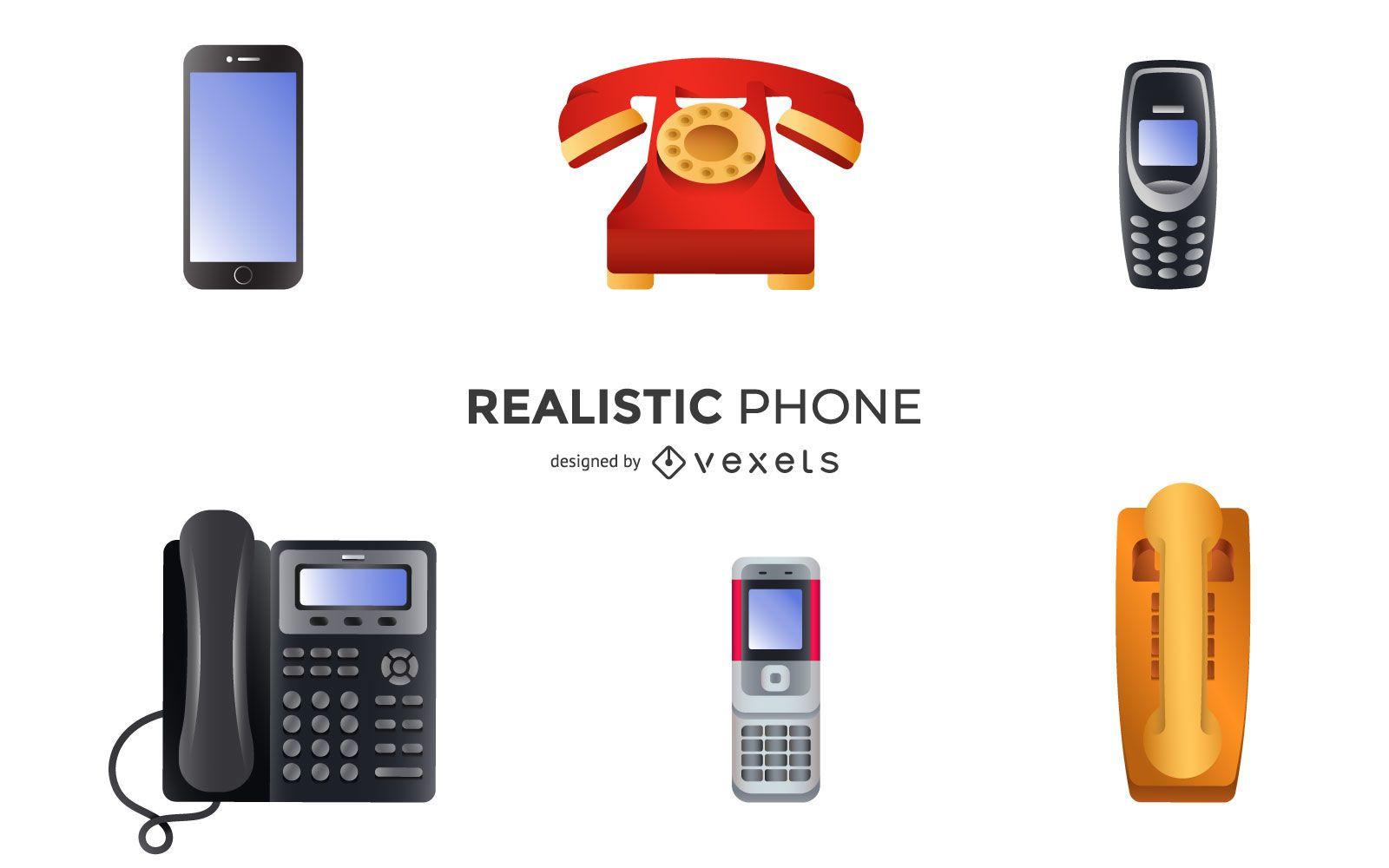 Conjunto de ilustración de teléfonos realistas