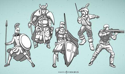 Conjunto de ilustrações de guerreiro