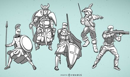 Warrior illustrations set
