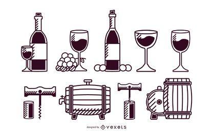 Conjunto de traços de elementos de vinho