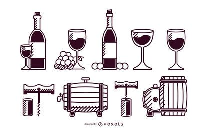 Wine elements stroke set