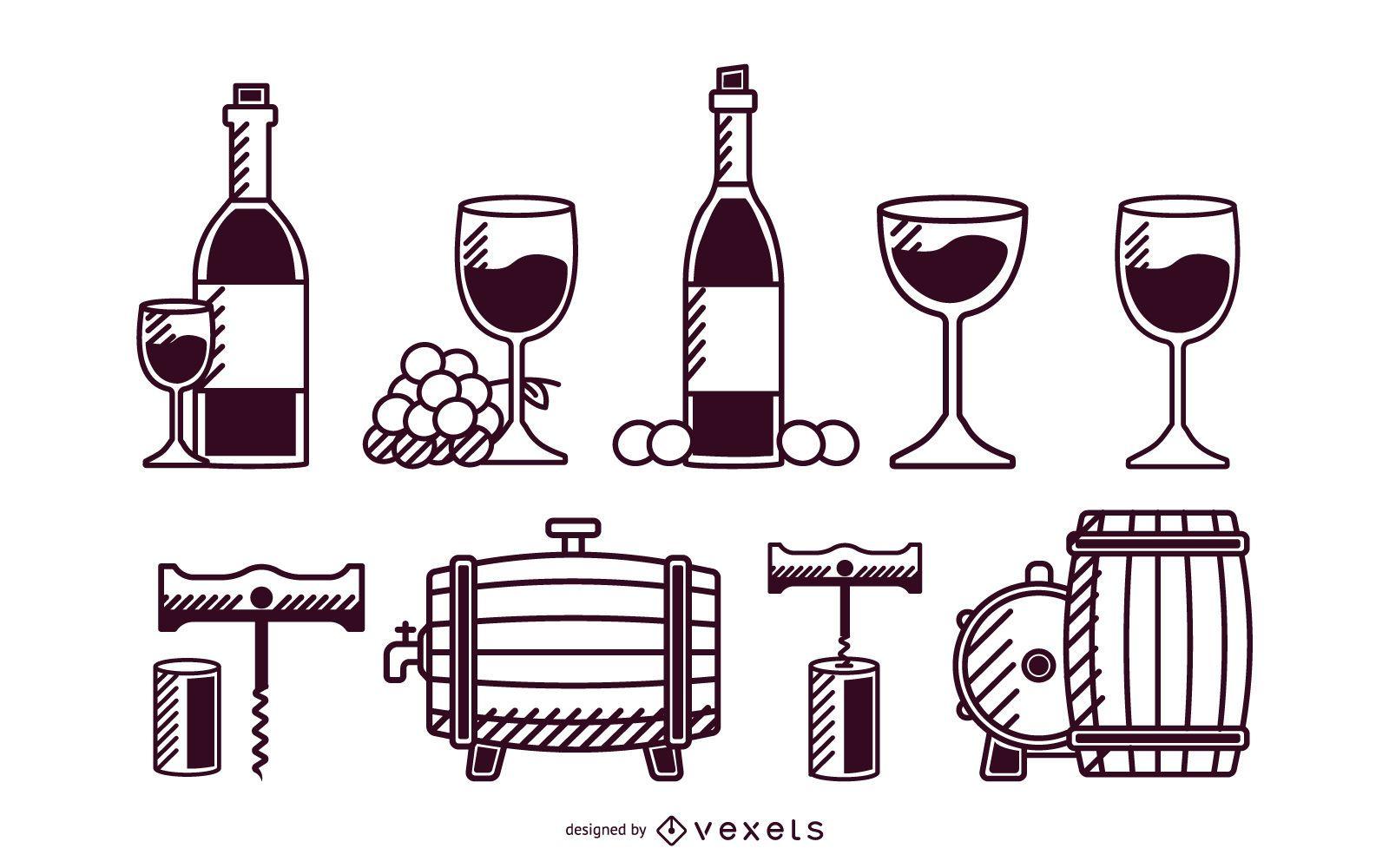 Conjunto de trazos de elementos de vino