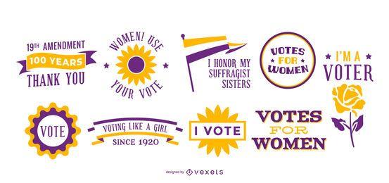 Conjunto de letras de voto de mujeres