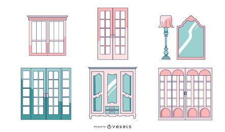 Pacote de portas de arquitetura francesa
