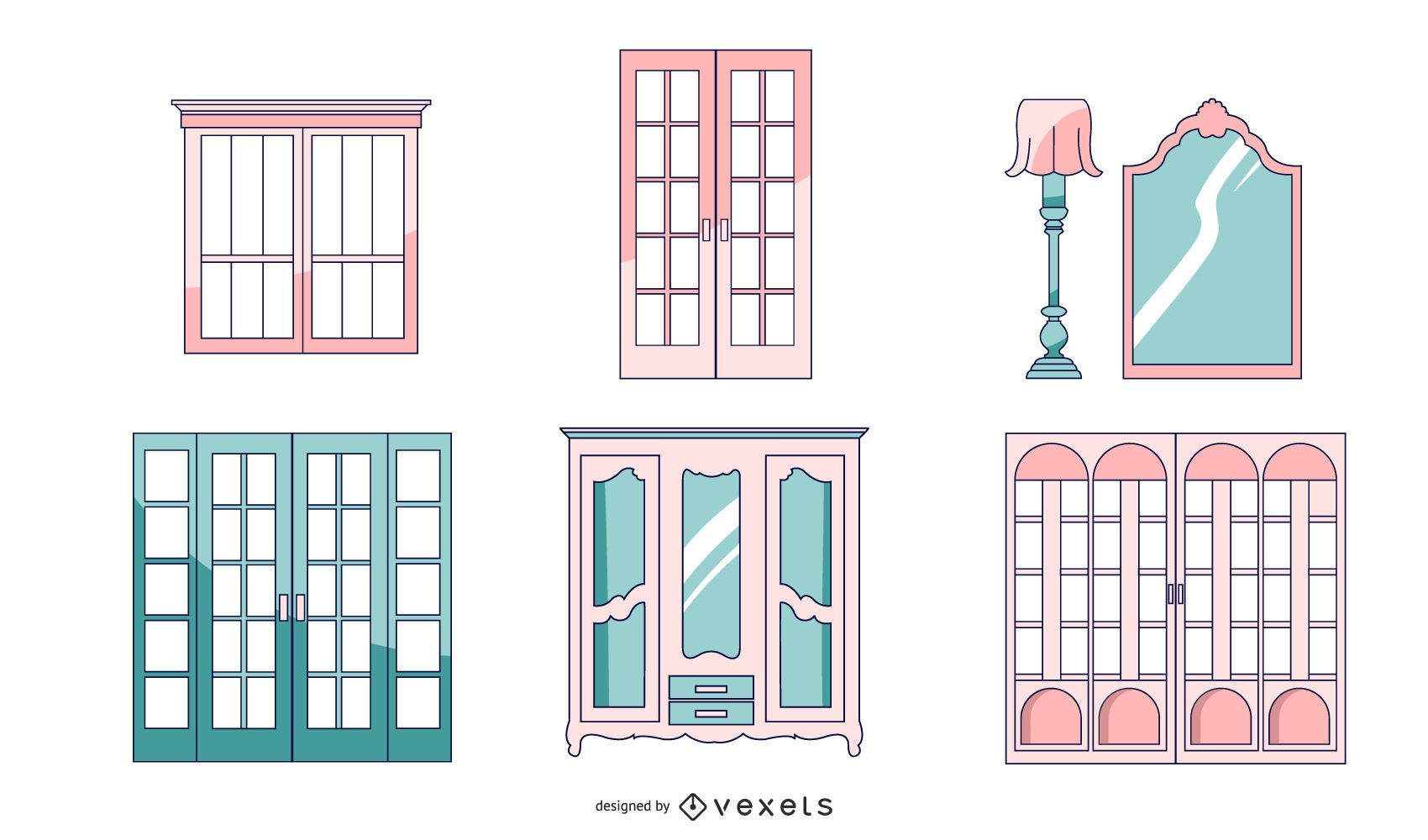 Paquete de puertas de arquitectura francesa
