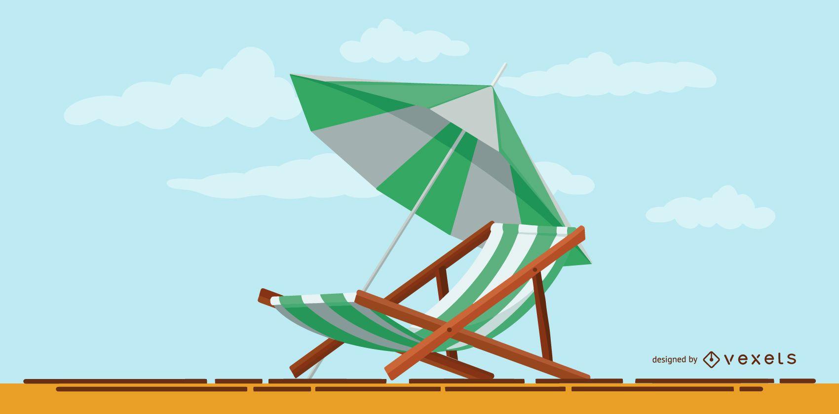 Summer Umbrella Illustration Design